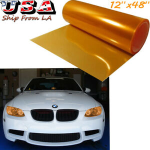 12''x48'' Glossy Orange Headlight Taillight Fog Lamp Tint Film Vinyl Wrap Sheet