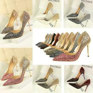 Women Sexy Bling Pumps High Heels Stiletto Sandal Pointy Toe Party Shoes Wedding