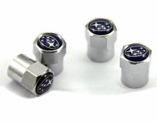 4 x Silver Chrome Tyre Valve Dust Caps (Fits SUBARU)