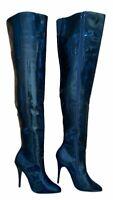 Ellie SUSIE Women's Black Size 10M Pointed Stiletto 6 Inch Heel Thigh High Boots