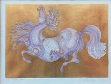 Guillaume AZOULAY - HIDDEN- Horse 23K Gold SERIGRAPH 87/100 2006 Beautiful Frame