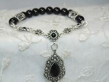 Black Bead Stretch Bracelet Marcasite Look Charm Fashion Jewelry New