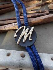 """Vintage Letter M  Bolo Tie blue cord metal """" M """" fancy cursive"""