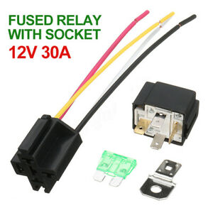 12V Car Automotive On/Off Fused Relay 4-Pin 30A Fuse with Holder Socket UK Stock
