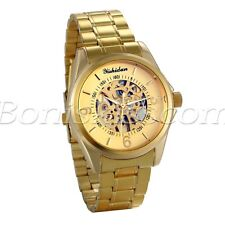 Men's Luxury Business Gold Tone Stainless Steel Automatic Mechanical Wrist Watch