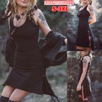 Women Punk Gothic Strappy Skater Evening Party Sleeveless Mini Dress Sundress
