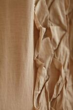 "Basal Curtain, 50""W x 63""L, Neutral Beige Pleated Cotton Linen ONE PANEL"