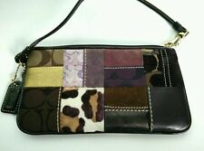 COACH Holiday Patchwork Wristlet Brown VGUC