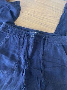 Sportscraft Linen Blend Cullottes Cotton Pant Sz 6 Relaxed Straight Leg