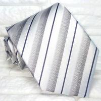 Cravatta uomo Regimental grigio JACQUARD 100% seta Made in Italy RP€ 38