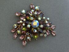Stunning JULIANA D&E ? Purple Green & Ab Clear Rhinestone Brooch Pin