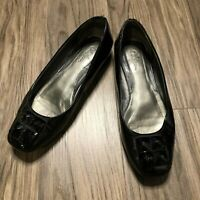 Cole Haan Womens Size 7B Black Patent Jeweled Toe Flats Slip On Shoes Work