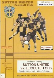 Sutton United v Leicester City   16-Jul-2002