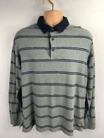 MENS M&S BLUE HARBOUR GREY BLUE STRIPE LONG SLEEVE POLO STYLE TOP TSHIRT SIZE M