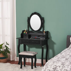 Luxury Dressing Table, Mirror & Stool Set (4 Drawer) Bedroom Makeup Desk vanity;