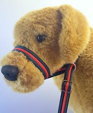 Figure of eight 8 PADDED WEB dog halter halti head-collar all in one Forest/Red