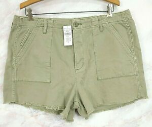 NWTs American Eagle Super Hi Rise Womens Shorts Sz 16 Button Fly Light Green NEW