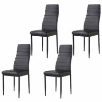 Set of 4 Stunning Dining Chairs Leather Backrest Dining Room Furniture Black
