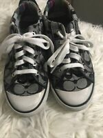 Coach Women  Barrett Sneakers Black Low Top Signature C Monogram Shoe Sneaker 8M