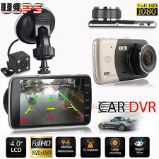 4'' Dual Lens Camera HD 1080P Car DVR Vehicle Video Dash Cam Recorder G-Sensor