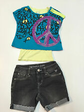 Girl Spring Summer Justice Outfit Cotton Denim Black Shorts & Double Top 7-8