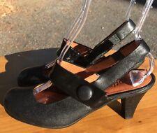Gentle Souls Women's Black Leather Mary Jane SlingBack Heels Size 8M US