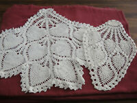 Vintage Crochet Pineapple Pattern Chair Set Doily Doiles Incomplete Off White
