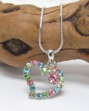 White Gold Heart Necklace Pastel Crystal Rhinestone Quality Fast Ship USA Seller