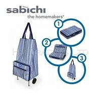 Blue Strip Shopping Bag With Wheel Wheeling Trolley Luggage Bag Fold Away Travel