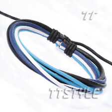TT Leather Cotton Rope Bracelet Wristband Black Blue (LB257)