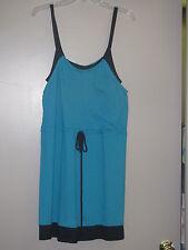 New Womens Sz XL LC Lauren Conrad Teal/Black Mock Layer Tank Dress $50