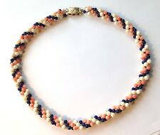 Vintage Gorgeous Angelskin Salmon and White Coral, Lapis Woven Rope Necklace