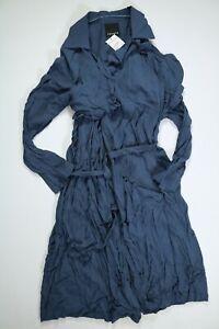 Women's Trouve Blue Trench Ruffle Drape Jacket Dress Medium NEW!