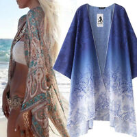Women Boho Chiffon Baggy Shawl Kimono Cardigan Long Tops Bikini Cover up Shirt 8