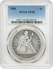 1841 $1 PCGS VF30 - Low Mintage Date - Liberty Seated Dollar - Low Mintage Date
