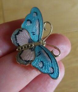 Sterling Silver Enamel Blue Butterfly Brooch 37 mm Hroar Prydz Norway Jensen