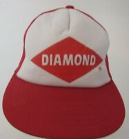 Vintage Diamond Red White  Snapback Trucker Hat Cap Mesh Advertising B1