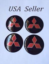 """4pcs Mitsubishi 3D Wheel Center Aluminum Black Caps Stickers Emblems 56mm/2 1/4"""""""
