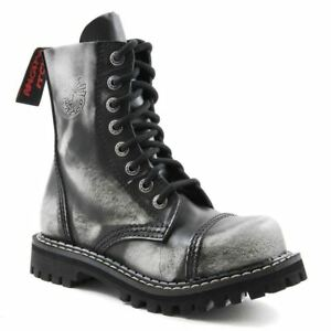 Angry Itch 8 Hole Punk White Rub Off Leather Army Ranger Boot Steel Toe