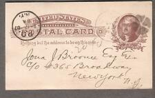 1887 postal card Bank Of Dwight IL to 365 Broadway New York/PO 8A NY cancel