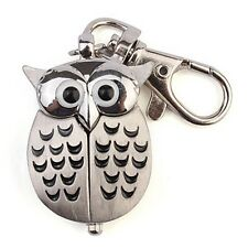Cute Antique Bronze Owl Pocket Quartz Key Chain Ring Kids Pendant Watch Gift