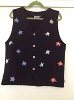 L A Sather Designer USA Hand Printed Stars Cotton Vest Small Medium ART TO WEAR