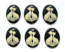 6 IVORY color LOVE CATS and ROSES on BLACK 40mm x 30mm Costume Jewelry CAMEOS