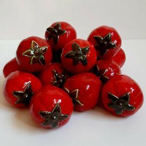 Ceramic Strawberries Faux Fake Fruit Lot of 16 Kitchen Decor kitsch