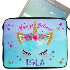 """Personalised Tablet Cover PRETTY UNICORN Neoprene Sleeve Girl Case 7"""" - 10"""" KS33"""