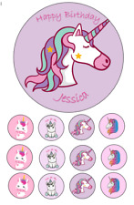 Personalised Unicorn Edible Image cake topper 15cm 12 cupcake toppers 3.5cm #52