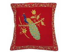 Red Peacock Dabka Work Embroidered Pillow Cover Couch Sofa Throw Toss Cushion