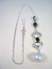 12 MM PEARL & 1.84 CTW CHROME DIOPSIDE/SAPPHIRE NECKLACE - GOLD over 925 SILVER