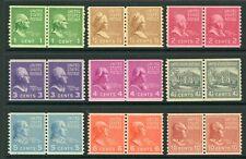 USA 1938 Prexie Coils Vert Perf Scott #839-847 MNH W408 ⭐⭐⭐⭐⭐⭐