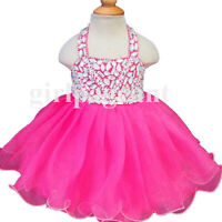 15color Infant/toddler/baby/children  beading Pageant Dress 128A with hairbow